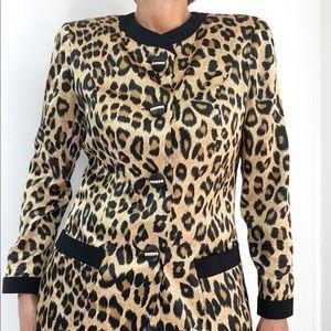 Lilli Ann Satin Silky Feel Leopard Print Blazer